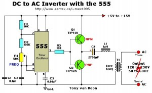 12vac to 220vac inverter circuit 300x184 12VDC to 220VAC Inverter with 555 Timer