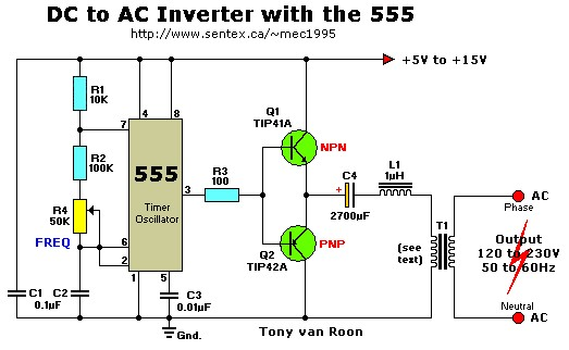 12vdc to 220vac inverter with 555 timer inverter circuit and products rh inverter circuit com dc ac inverter circuit diagram dc ac converter circuit diagram simple