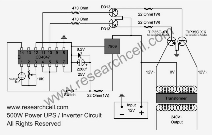 500W power inverter circuit TIP35C