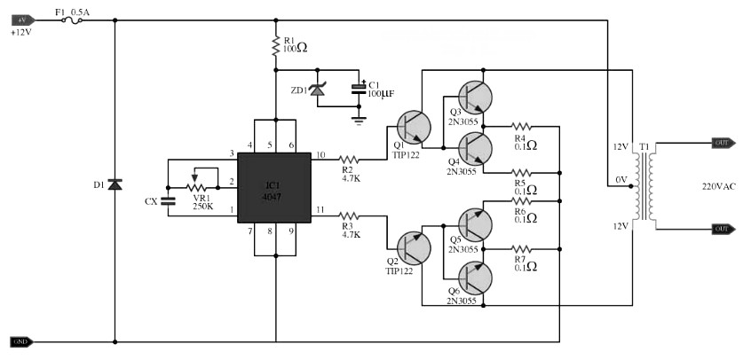 inverter circuit 100w with 2n3055
