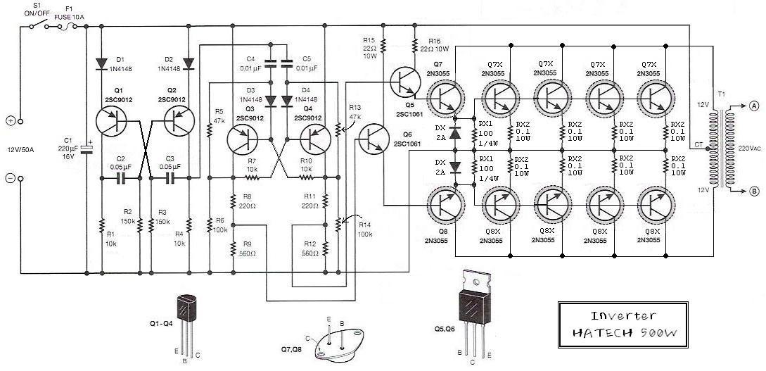 500w power inverter circuit using transistor 2n3055 - inverter circuit and  products  inverter circuit diagram