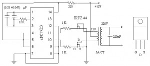 Simple 12 220 AC to DC Inverter Circuit MOSFET IRFZ44 300x133 12V to 220V Inverter based MOSFET IRFZ44